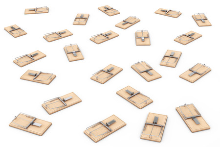 entrapment: Many Wooden Mousetraps on a white background. 3d Rendering.