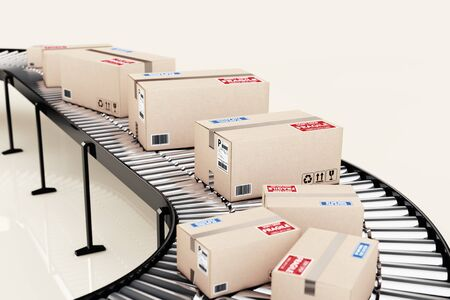 conveyor system: Parcels Transportation System Concept. Cardboard Boxes on Conveyor in Warehouse on a bright background. 3d Rendering Stock Photo