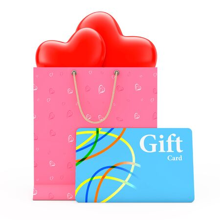 Ornate with Hearts Paper and Hearts inside Shopping Bag with Gift Card on a white background. 3d Rendering.