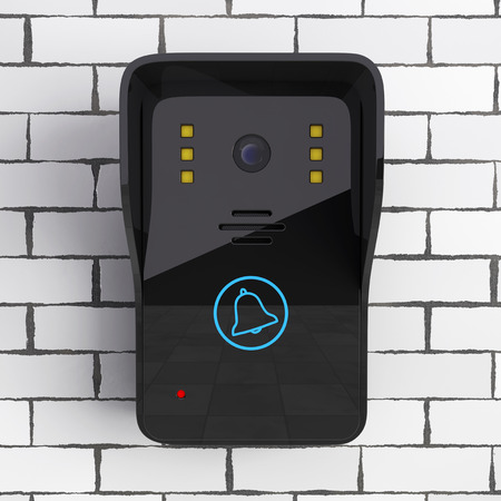 Modern Video Intercom in front of Brick Wall. 3d Rendering.