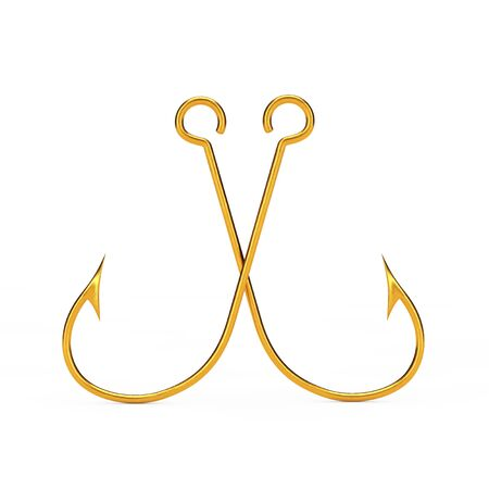 Pair of Golden Fishing Hooks on a white background. 3d Rendering.