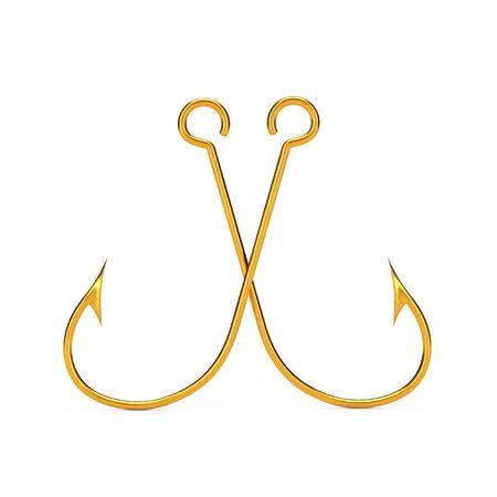 fishhook: Pair of Golden Fishing Hooks on a white background. 3d Rendering.