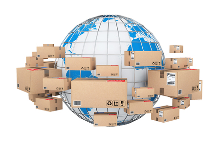 Global Shipping and Logistic Concept. Earth Globe Surrounded by Cardboard Boxes with Parcel Goods on a white background. 3d Rendering.
