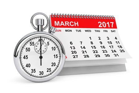 watch new year: 2017 year calendar. March calendar with stopwatch on a white background. 3d rendering Stock Photo