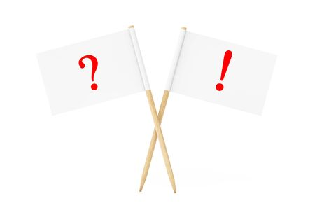 toothpick: Mini Paper Pointer Flags with Question Exclamation Marks on a white background. 3d Rendering. Stock Photo