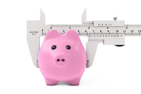 vernier: Size of Savings Concept. Piggy Bank with Vernier Caliper Sliding Gauge on a white background. 3d Rendering.