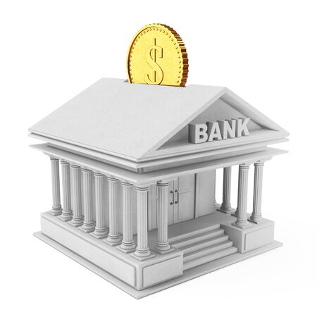 Bank Building with Golden Coin as Moneybox on a white background. 3d Rendering. Stock Photo