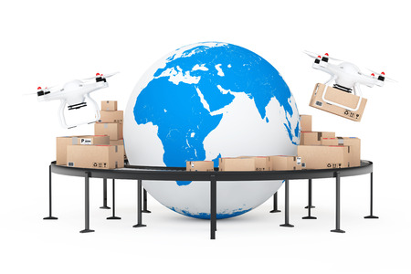 Global Shipping and Logistic Concept. Quadrocopter Drones Delivering a Parcel near Earth Globe Surrounded by Cardboard Boxes over Roller conveyor on a white background. 3d Rendering. Stock Photo