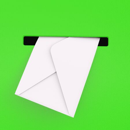 White Envelope in Green Mailbox extreme closeup. 3d Rendering.