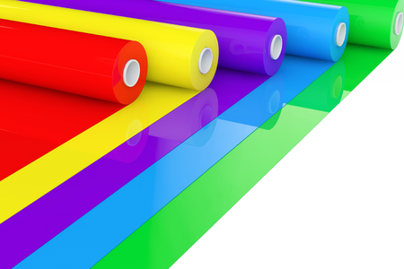 Multicolor PVC Polythene Plastic Tape Rolls or Foil on a white background. 3d Rendering. Stock Photo