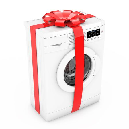 Modern Washing Machine with Red Ribbon and Bow as Gift on a white background. 3d Rendering.