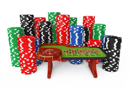 Classic Casino Roulette Table with Colorful Poker Casino Chips on a white background. 3d Rendering.