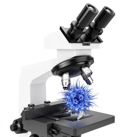 bacteria microscope: Objective Lens of Microscope and Blue Virus Cell or Bacteria on a white background. 3d Rendering. Stock Photo