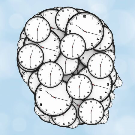Deadline Pressure Concept. Modern Clocks Shaped as a Human Head on a blue background. 3d Rendering.