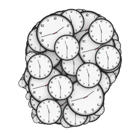 cronologia: Concepto de presión límite. Relojes modernos en forma de cabeza humana sobre un fondo blanco. Representación 3D.