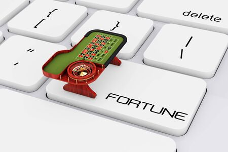 roulette online: Classic Casino Roulette Table over Computer Keyboard with Fortune Sign extreme closeup. 3d Rendering.