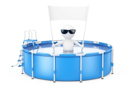 3d Person with Blank Placard Banner in Blue Portable Outdoor Round Swimming Water Pool with Ladder on a white background. 3d Rendering. Stock Photo