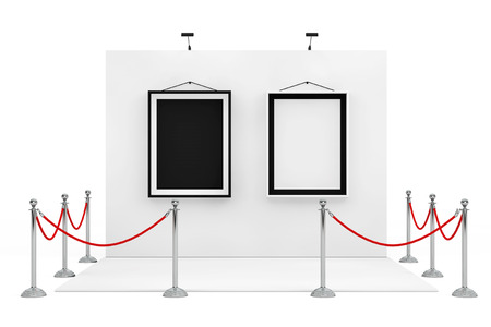 Barrier Rope Around Trade Show Booth with Black and White Picture Frames on a white background. 3d Rendering.