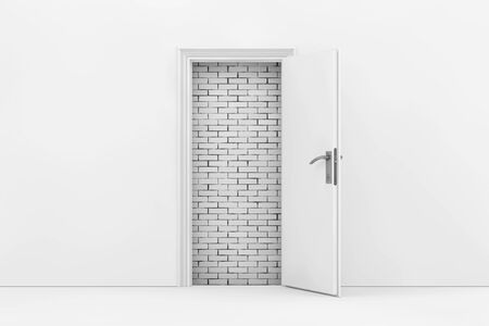 impasse: Brick Wall Seen Through White Opened Door extreme closeup. 3d Rendering. Stock Photo