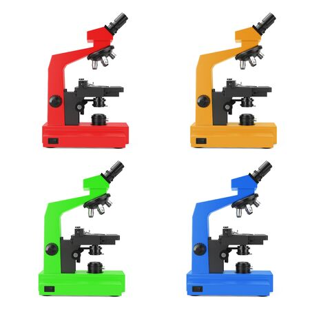 Multicolors Modern Laboratory Microscopes on a white background. 3d Rendering.