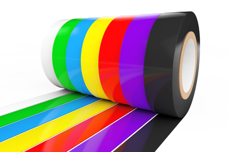 cordon: Different Colored Adhesive Insulating Tape on a white background. 3d Rendering. Stock Photo