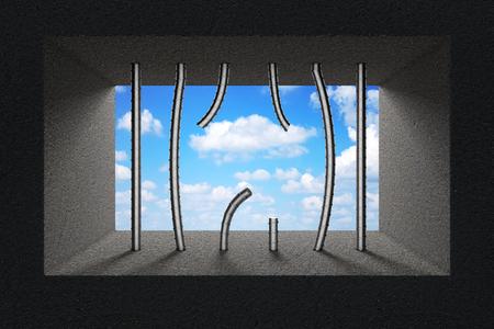 Sky Seen Through Broken Jail Bars in Prison Window extreme closeup. 3d Rendering.
