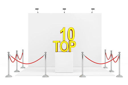 Barrier Rope Around Trade Show Booth with Golden Top 10 Sign over Stand on a white background. 3d Rendering.