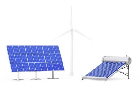 Blauw Zonnepanelen, windmolens en boiler Panel op een witte achtergrond. 3D-rendering.