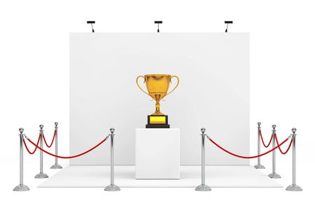 Barrier Rope Around Trade Show Booth with Award Golden Trophy on a white background. 3d Rendering.