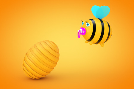 beeswax: Cartoon Bee in front of Beehive on a orange background. 3d Rendering. Stock Photo
