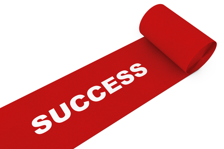 Unrolled Red Carpet with Success Sign on a white background. 3d Rendering. Stock Photo
