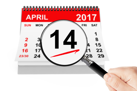 Good Friday Concept. 14 april 2017 calendar with magnifier on a white background Stock Photo