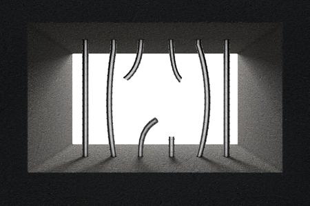 Broken Jail Bars in Prison Window extreme closeup. 3d Rendering.