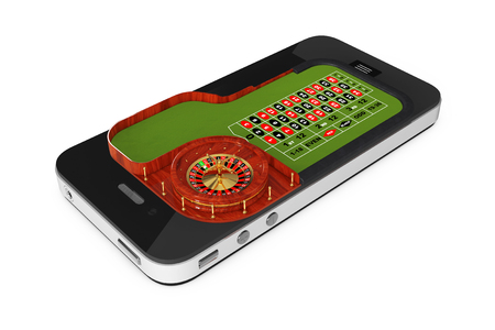 wheel of fortune: Online Casino Concept. Classic Casino Roulette Table over Mobile Phone on a white background. 3d Rendering.
