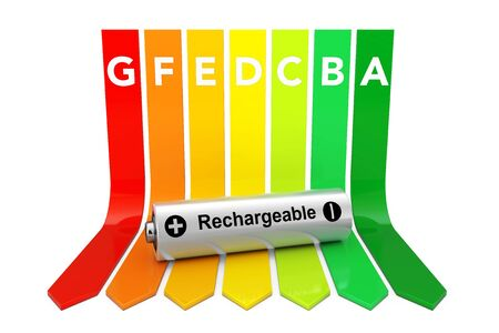 low scale: Rechargeable Battery over Energy Efficiency Rating Chart on a white background. 3d Rendering.