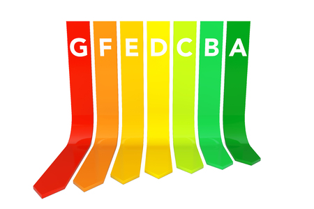 Energy Efficiency Rating Chart on a white background. 3d Rendering.
