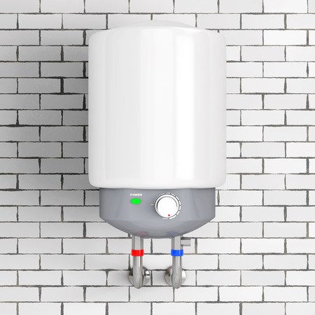 Calentador de agua automático moderno delante de la pared de ladrillo. Representación 3D.