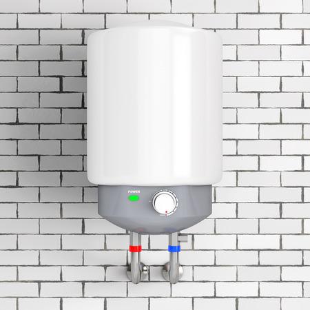 Chauffe-eau automatique moderne en face du mur de briques. Rendu 3D.