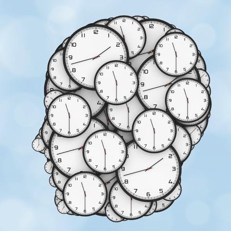 cronologia: Concepto de la presión del plazo. Relojes modernos en forma de cabeza humana sobre un fondo azul. Representación 3D.