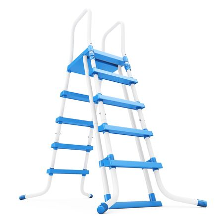 Plastic Outdoor Swimming Pool Ladder on a white background. 3d Rendering.