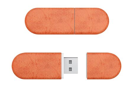 Brown Leather USB Flash Memory Drives on a white background. 3d Rendering.