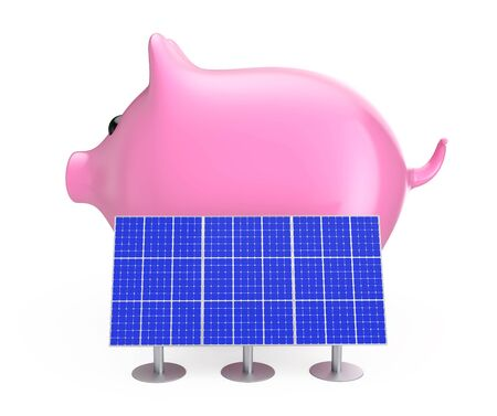 Saving Money Concept. Piggy Bank with Blue Solar Panels on a white background. 3d Rendering. Stock Photo