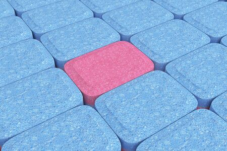 Many Dishwasher Tablets in Rows extreme closeup. 3d Rendering.