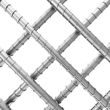 Metal Reinforcement Steel Rebars as Welded Wire Mesh on a white background. 3d Rendering.