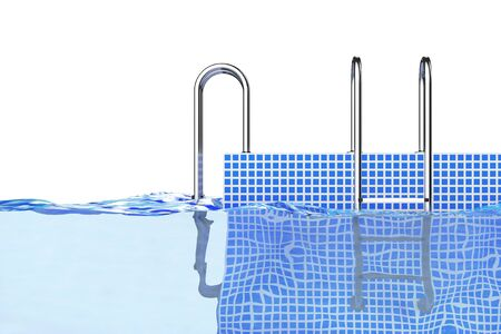 Chrome Swimming Pool Ladders in Water on a white background. 3d Rendering. Stock Photo