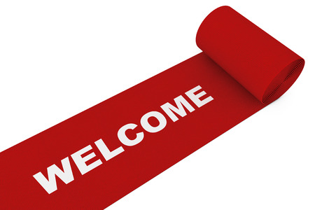 Unrolled Red Carpet with Welcome Sign on a white background. 3d Rendering. Stock Photo