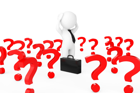 3d Businessman Stressed in centre of Many Question Marks on a white background. 3d Rendering.