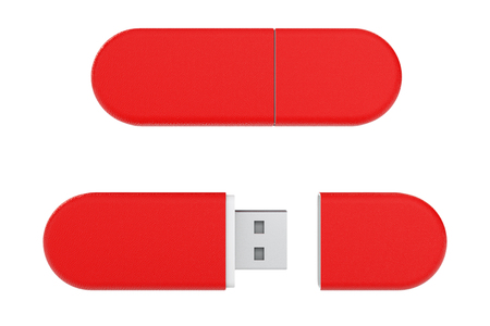 Red Leather USB Flash Memory Drives on a white background. 3d Rendering.