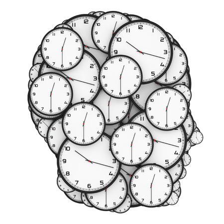Deadline Pressure Concept. Modern Clocks Shaped as a Human Head on a white background. 3d Rendering. Stock Photo
