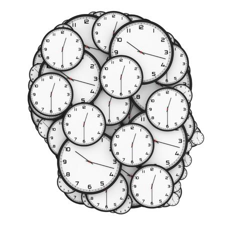 cronologia: Deadline Pressure Concept. Modern Clocks Shaped as a Human Head on a white background. 3d Rendering. Foto de archivo